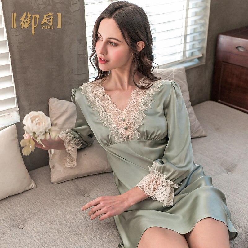 قميص نوم جديد من الحرير 2021 بأكمام طويلة ، ثوب نوم ربيعي من دودة القز ، حرير يحمل علامة تجارية ، للمنزل ، 100%