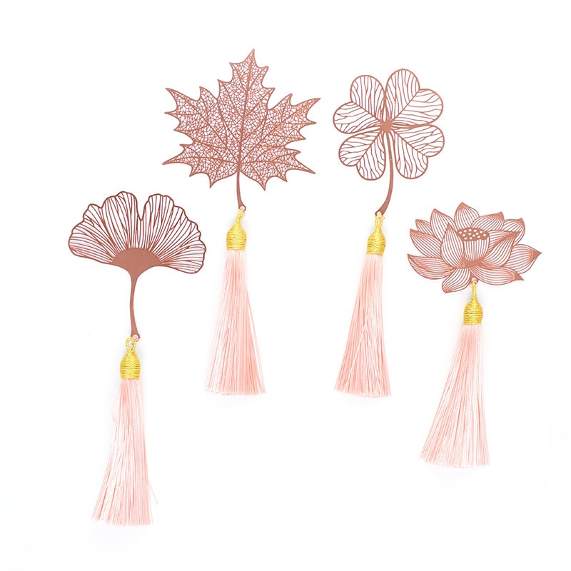 Coloffice Vintage Metal Bookmark Chinese Style Leaf Veins Rose Gold Hollow Maple Leaf Tassel Apricot Leaf Bookmark Gifts 1PC chinese style metal hollow bookmark lotus lotus leaf bookmark creative stationery fine holiday gifts art accessories