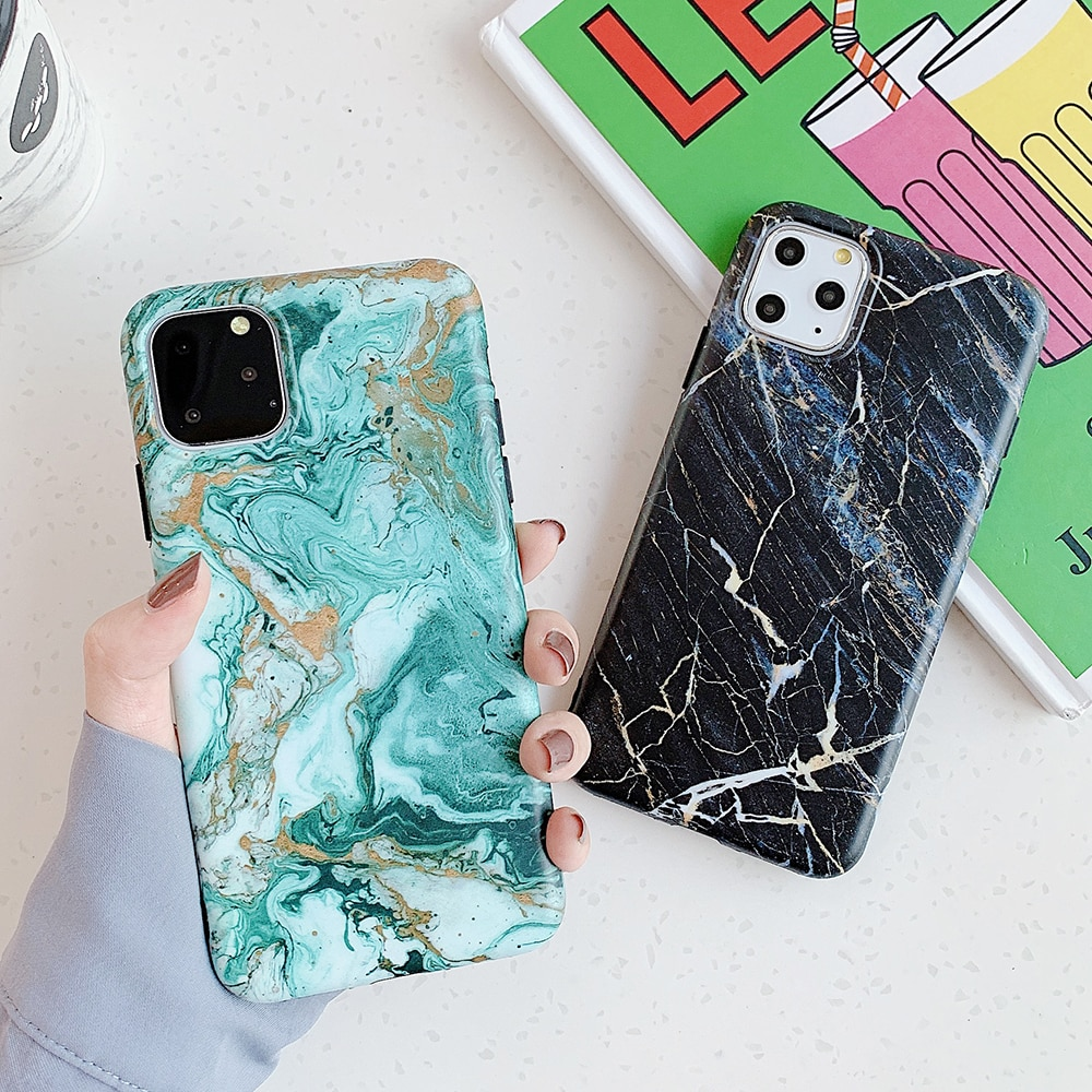 SUYACS clásico mármol textura teléfono caso para iPhone 11 Pro Max XR XS Max X 6 6S 7 8 Plus suave IMD cuerpo completo contraportada Coque
