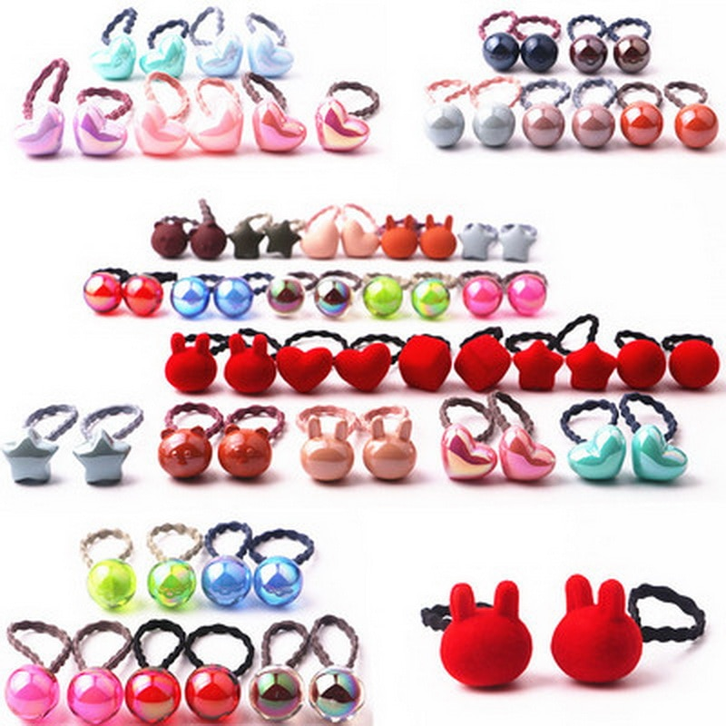 10pcs/lot Baby Sweet Hair Accessories Candy Color Kids Elastic Hair Ties Rope Ponytail Ball Hairband