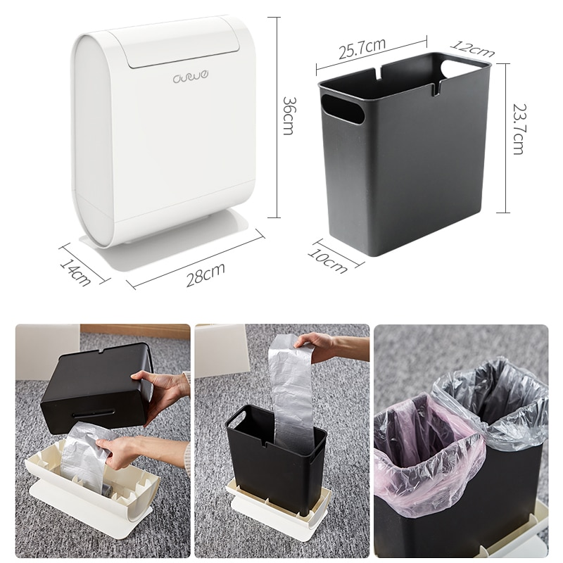 Semi-Automatic Switch Trash Can Kitchen Trash Can Living Room Trash Can Bathroom Trash CanHousehold Cleaning Tool Accessories enlarge