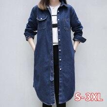 Moda inverno denim jaquetas plus size 3xl estilo feminino longa seção do vintage jaqueta jeans solto novo outono denim casaco casual