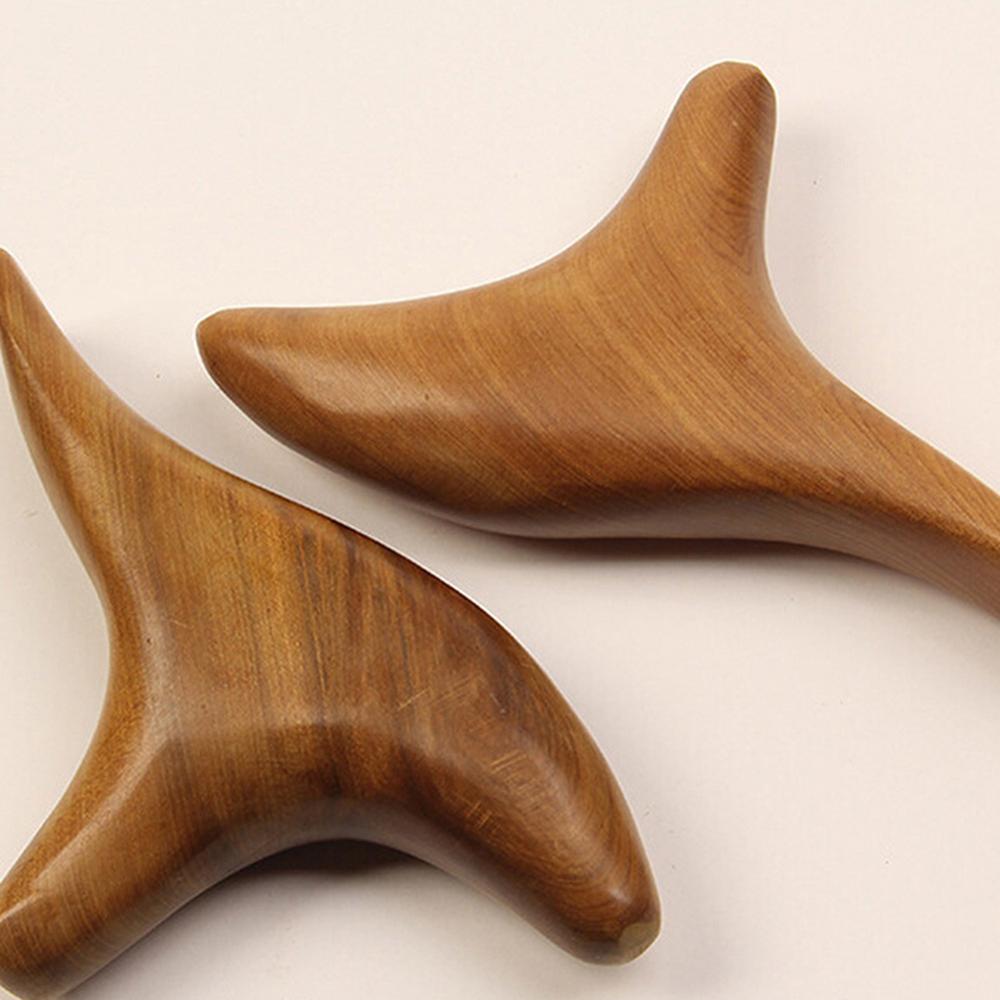Acupuntura de madeira em forma de t mão massageador triângulo casa portátil ponto de entretenimento ponto de massagem dispositivo cuidados de saúde