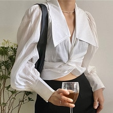 Autumn 2021 Women New Blouse Korean Fashion Temperament Cross V-neck Casual Solid Color Simplicity S