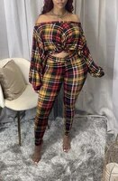 sexy plaid print slash off shoulder crop top and pencil pants long sleeve autumn two piece set party club outfits matching set