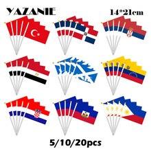 Yazanie 14*21cm 5/10/20pcs 터키 도미니카 공화국 세르비아 이집트 스코틀랜드 베네수엘라 크로아티아 아이티 필리핀 작은 손 깃발