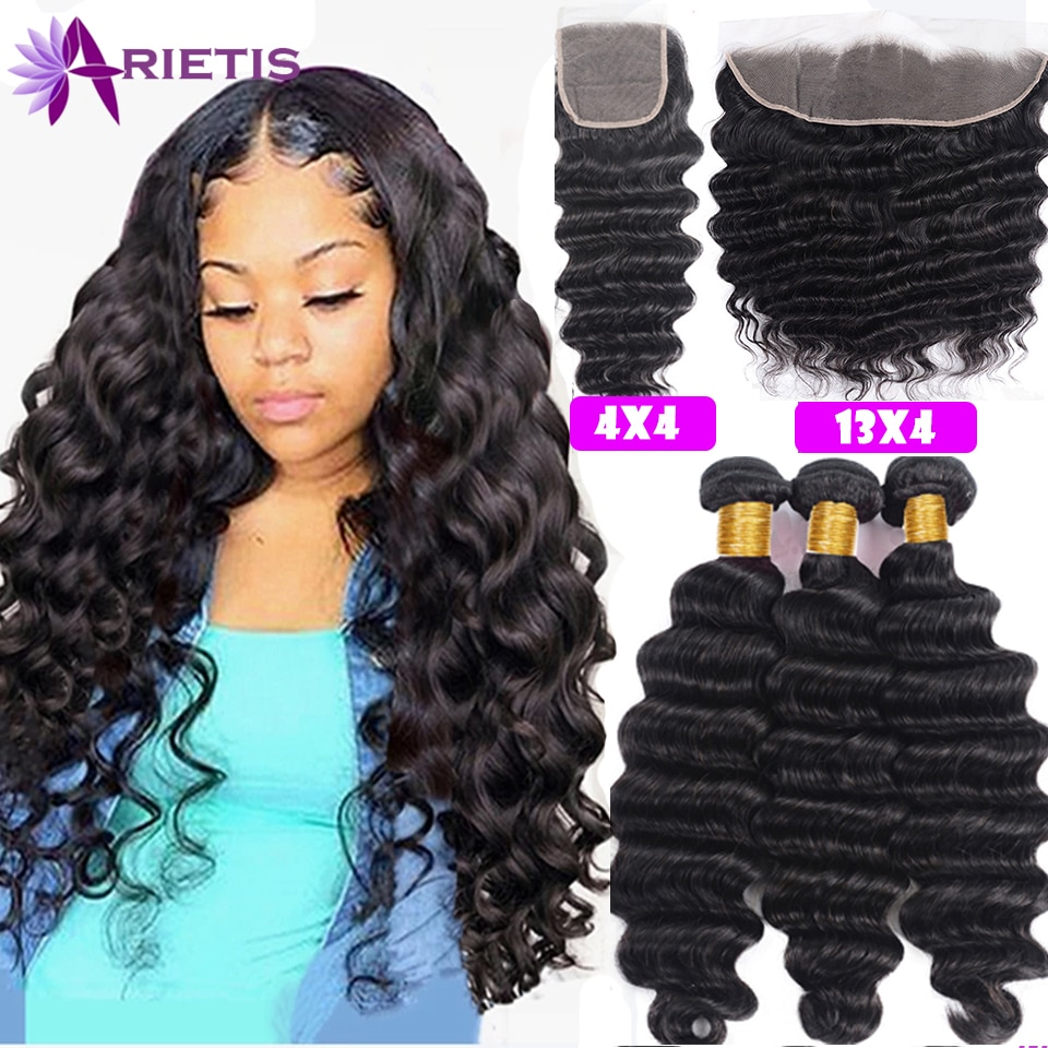 Loose Deep Human Hair Bundles With Closure Brazilian Remy Bundles With Frontal For Black Women Double Weft Frontal With Bundles