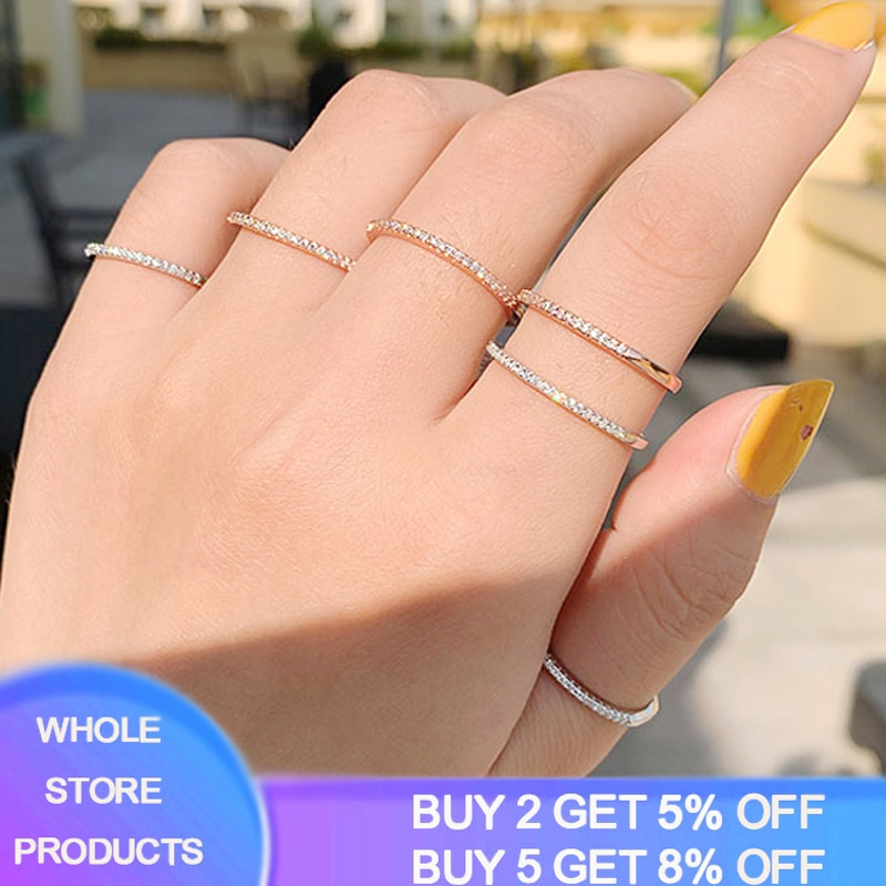 Bien círculo 1mm de boda CZ anillo de Plata de Ley 925 anillo de aniversario de mujeres anillo eternidad banda joyería de plata 925