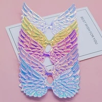 20pcslot 9 57cm big size pu shiny angel wing padded appliques for bow clip accessories diy kid patches