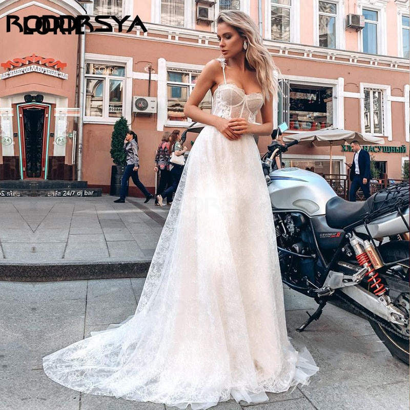 RODDRSYA Romantic Wedding Dresses Lace Spaghetti Strap Vintage Wedding Gown Beach Bridal Dress Boho 2021 hochzeitskleid