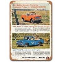sisoso pub car tin signs vintage metal wall decor 1961 international scout and pickup trucks game room grage man cave