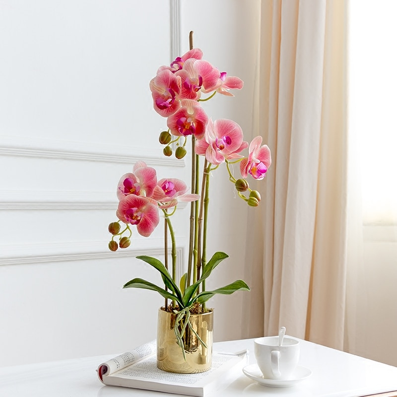 Flor de mesa de alta calidad bien disenada + jarron latex artificial arreglo floral de orquideas real touch ins popular