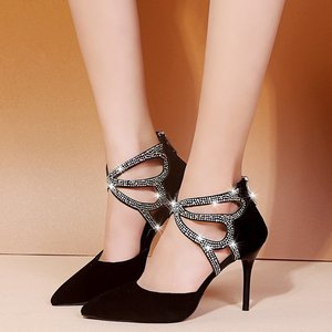 Sandals Ladies High Heel Sandals 2021 New Suede Point-toe 9cm High Heel Fashion Sandals Butterfly Diamond Style Party  Shoes