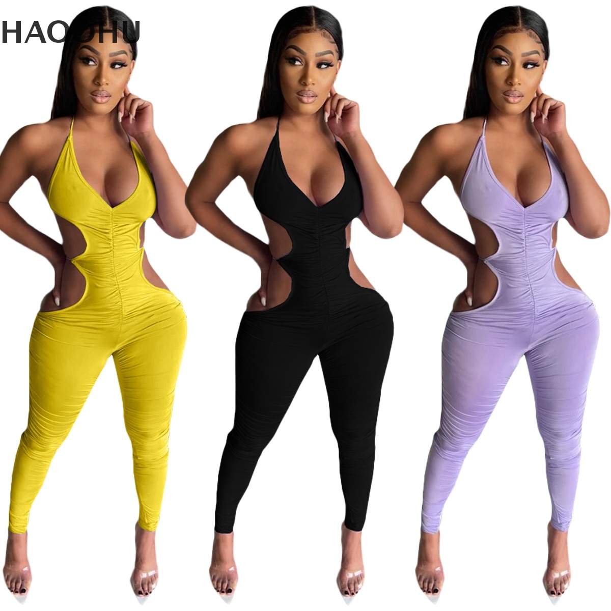 HAOOHU Cross-border Foreign Trade Women's new Style Summer Fashion Casual Suspender Folds Open Back Sexy Trousers Jumpsuit