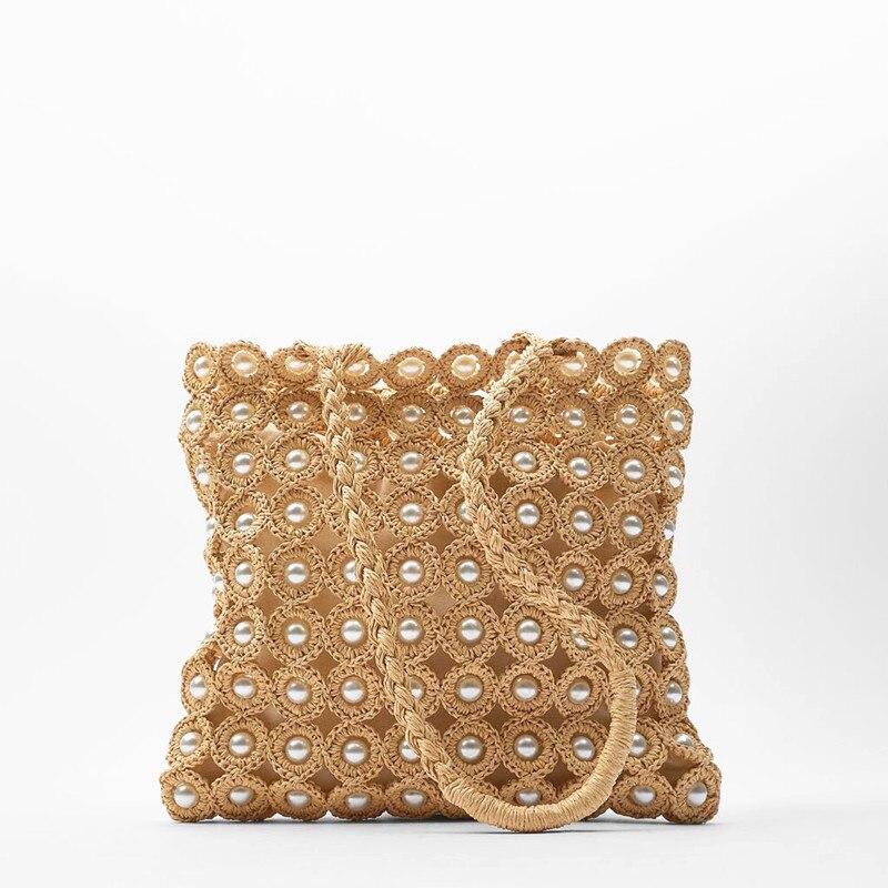 ZA New Designer Pearl Shoulder Bags For Women 2020 Summer Handmade Straw Bag Fashion Woven Female Handbags Beach Vacation Bag