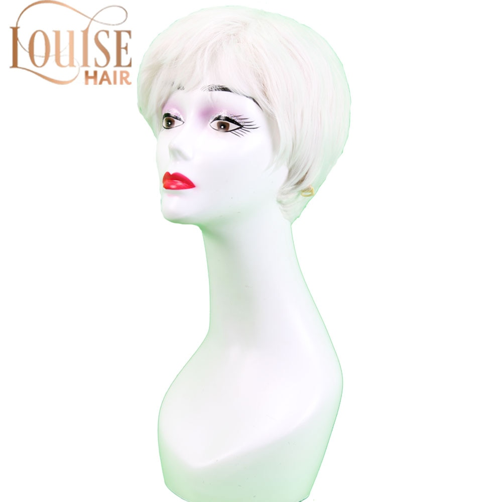 Louise cabelo curto perucas para mulheres velhas sintético cinza cabelo branco em linha reta estilo olded peruca cosplay
