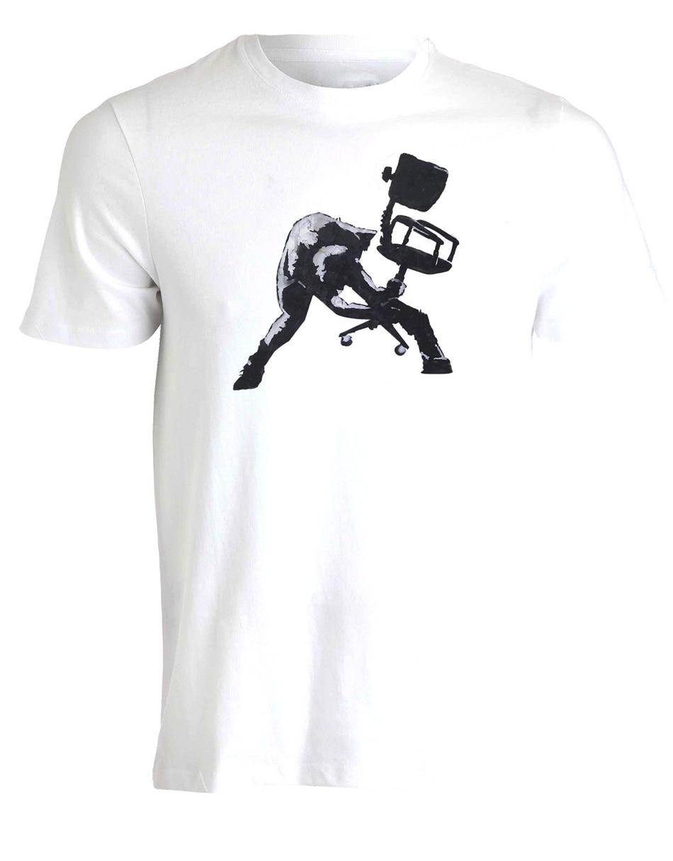 Banksy Clash Büro Stuhl Wand Graffiti Street Art Mens T-shirt Top AC92 T Hemd Neuheit Große Größe Casual