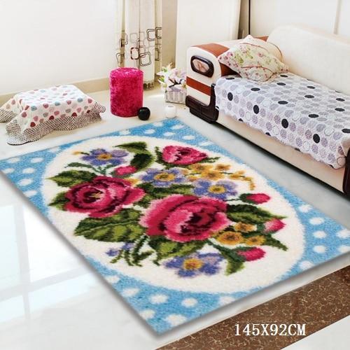 Kit de alfombras de ganchillo con gancho para perro, cojín de botón, Alfombra de animales, hazlo tú mismo, alfombra Foamiran para flores, venta de juegos de bordado