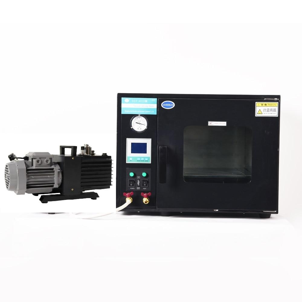 ZOIBKD 220V 50hz Black Vacuum Drying Oven DZF-6020 0.9 Cu Ft 25L and 2XZ-2 Rotary Vane Vacuum Pump 220V 50Hz