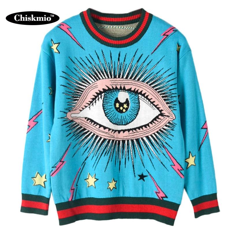 Chiskmio-كنزة نسائية محبوكة ، بلوزات زرقاء بنمط عيون كبيرة ، سترة فضفاضة بحواف مخططة