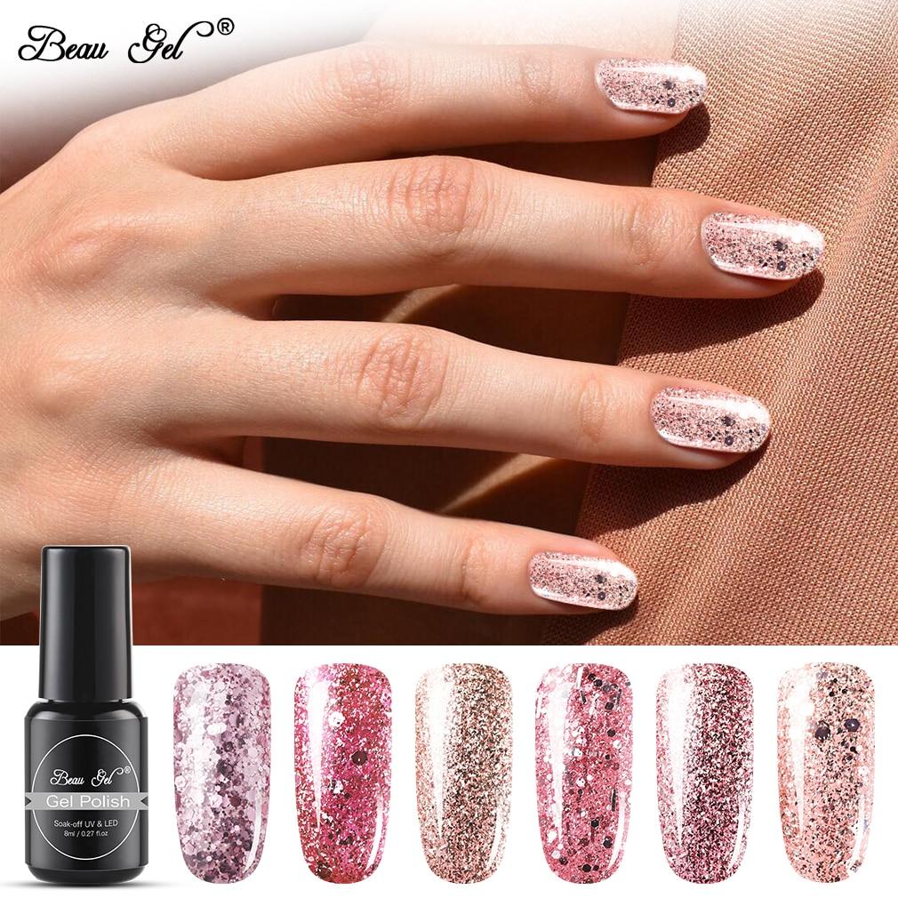 Beauty Gel 8ml de oro rosa de lentejuelas Gel esmalte de uñas brillo esmalte en laca Gel esmalte Semi permanente arte de uñas manicura
