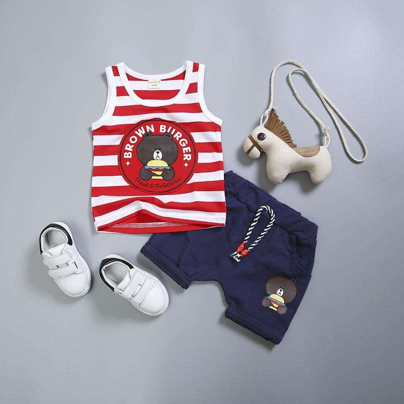 Ropa de bebé para niño de verano 2020, chaleco sin mangas a rayas de oso de dibujos animados + Pantalones cortos, ropa infantil de 2 uds, trajes para niños para trotar