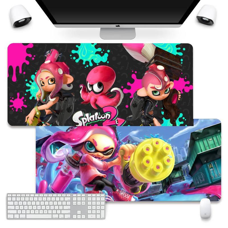 Игровые коврики Splatoon 2, коврик для мыши, коврик для мыши, большой коврик для клавиатуры, настольного компьютера Takuo, противоскользящий, станд...