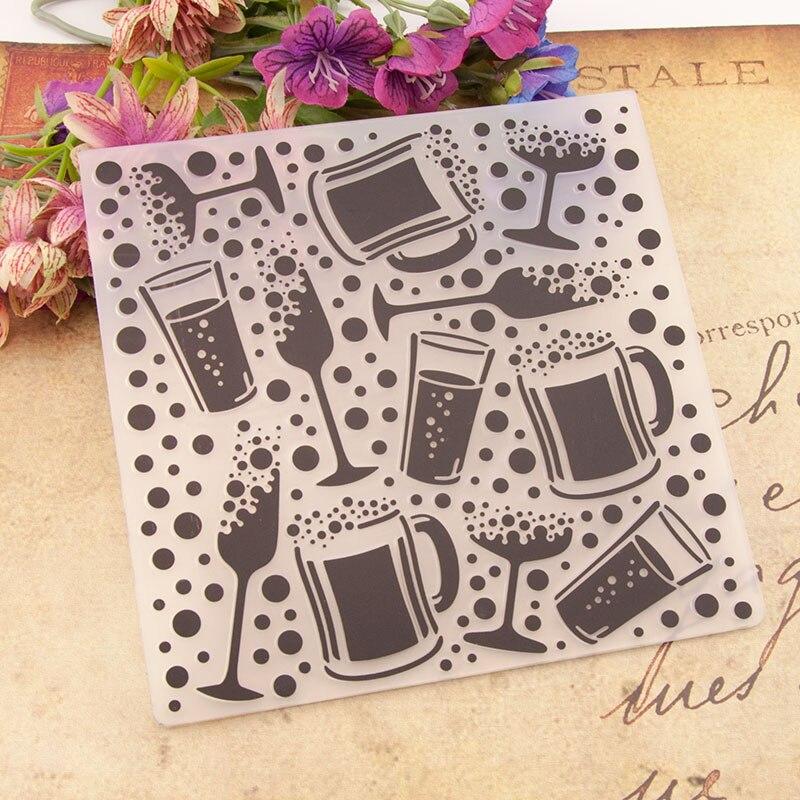 KUNSTSTOFF PRÄGUNG ORDNER Wein Glas Kaffee Tasse Geburtstag Sammelalbum Album Karte Geschenk Verpackung Dekoration Schneiden Stirbt Handwerk Schablonen