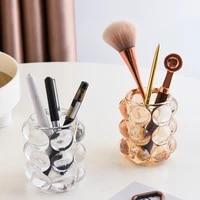 crystal glass makeup brush holder pen pencil storage cup cosmetic tools organizer desktop lipsticks jewelry holder
