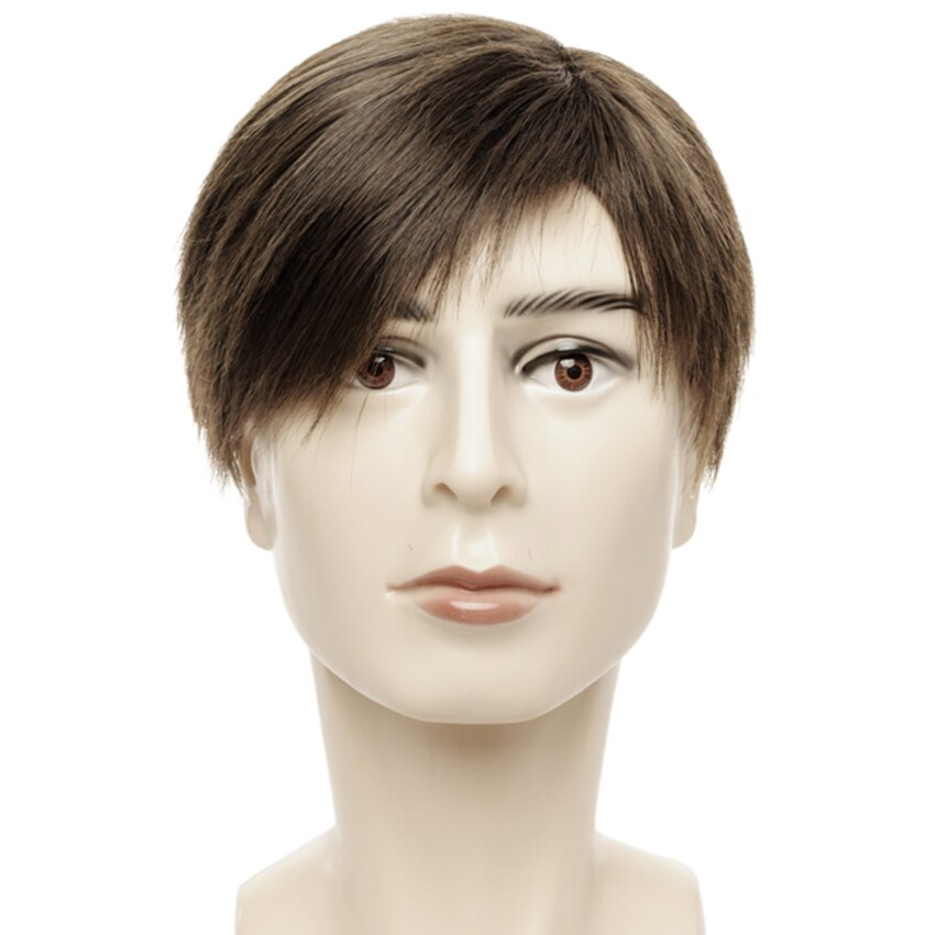 6 Inch Straight Synthetic Male Wig Dark Brown Color Short Wigs for Men with Side Bangs Heat Resistant Fiber