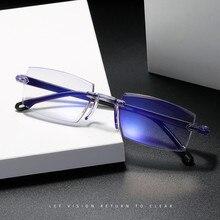 Очки при близорукости с защитой от сисветильник, Обрезанные деловые оптические очки для мужчин и женщин, мужские очки без оправы, фотоаксессуары от-1,0 до-4,0