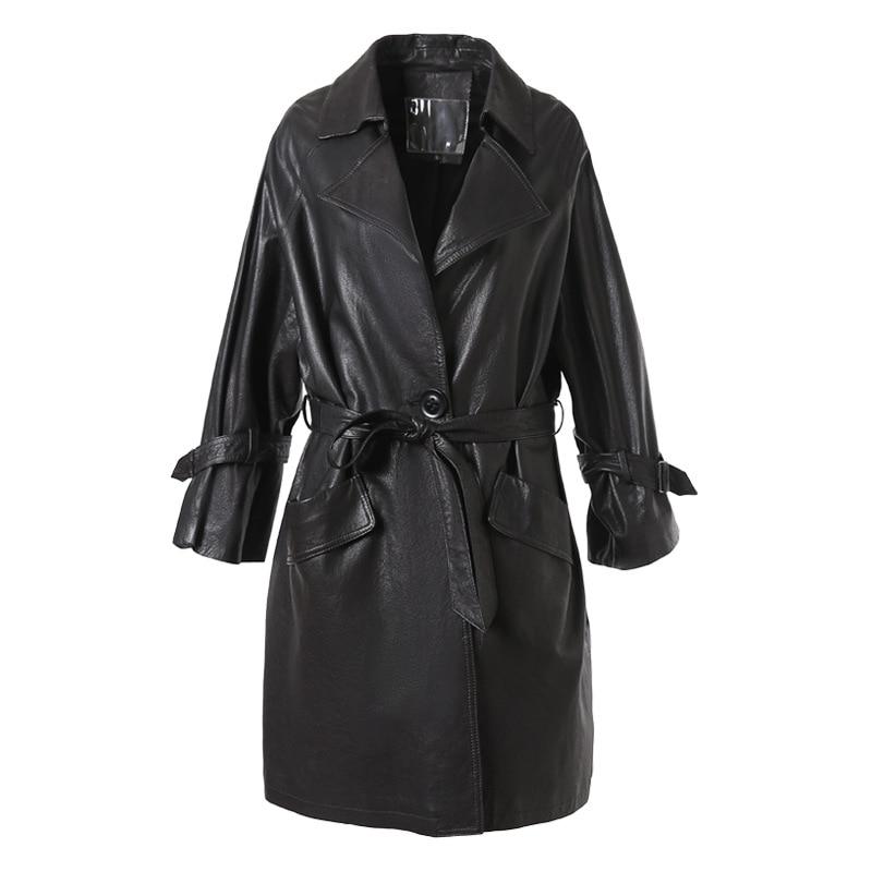 2021 Manufacturers wholesale leather women 2021 loose sheepskin windshield long coat  natural sheepskin coats black biker jacket