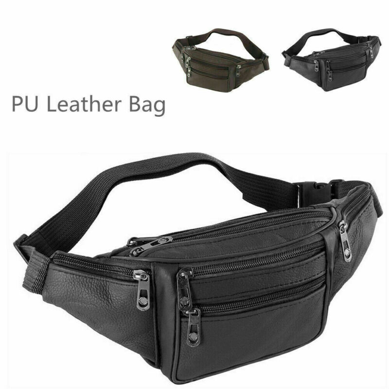 Male Leather Sports Runner Waist Bum Bag Mens Running Jogging Belt Pouch Zip Fanny Pack Travel Hip Purse Phone Pocket