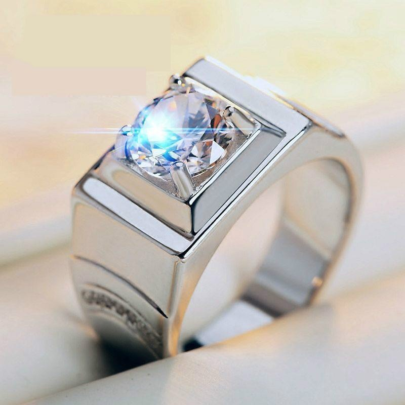 Platinum-plated Rings For Men Open-mouth Simulation Diamond Ring Domineering Personality Forced Artifact Lettering Rings