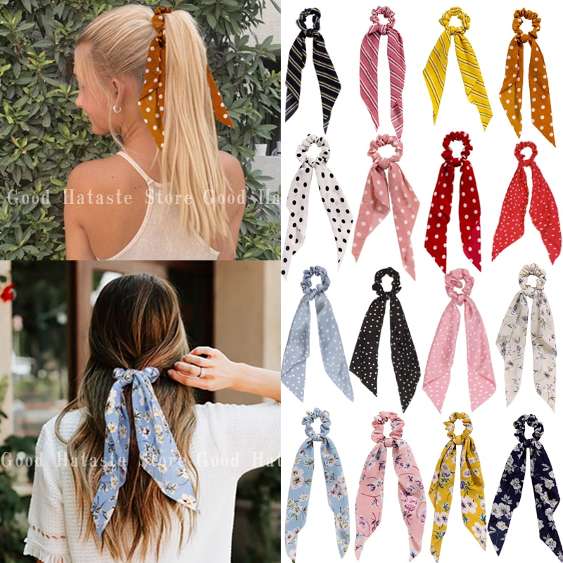 Fashion Printing Hair Bands Long Scarf Ribbons Scrunchie For Women Elegant Bow Tie Girl Elastic Ponytail Holder Hair Accessories