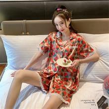 pijama feminino women summer short-sleeved rayon thin lace home service printing casual suit shorts two-piece fashion bathrobe