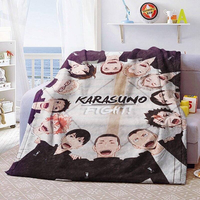 بطانية من الصوف المرجاني الناعم الناعم من Anime Haikyuu ، سجادة سرير من الفانيلا ، ملاءة غرفة نوم ، تأثيري ، بطانية تلفزيون شتوية ، 100 × 150 سنتيمتر