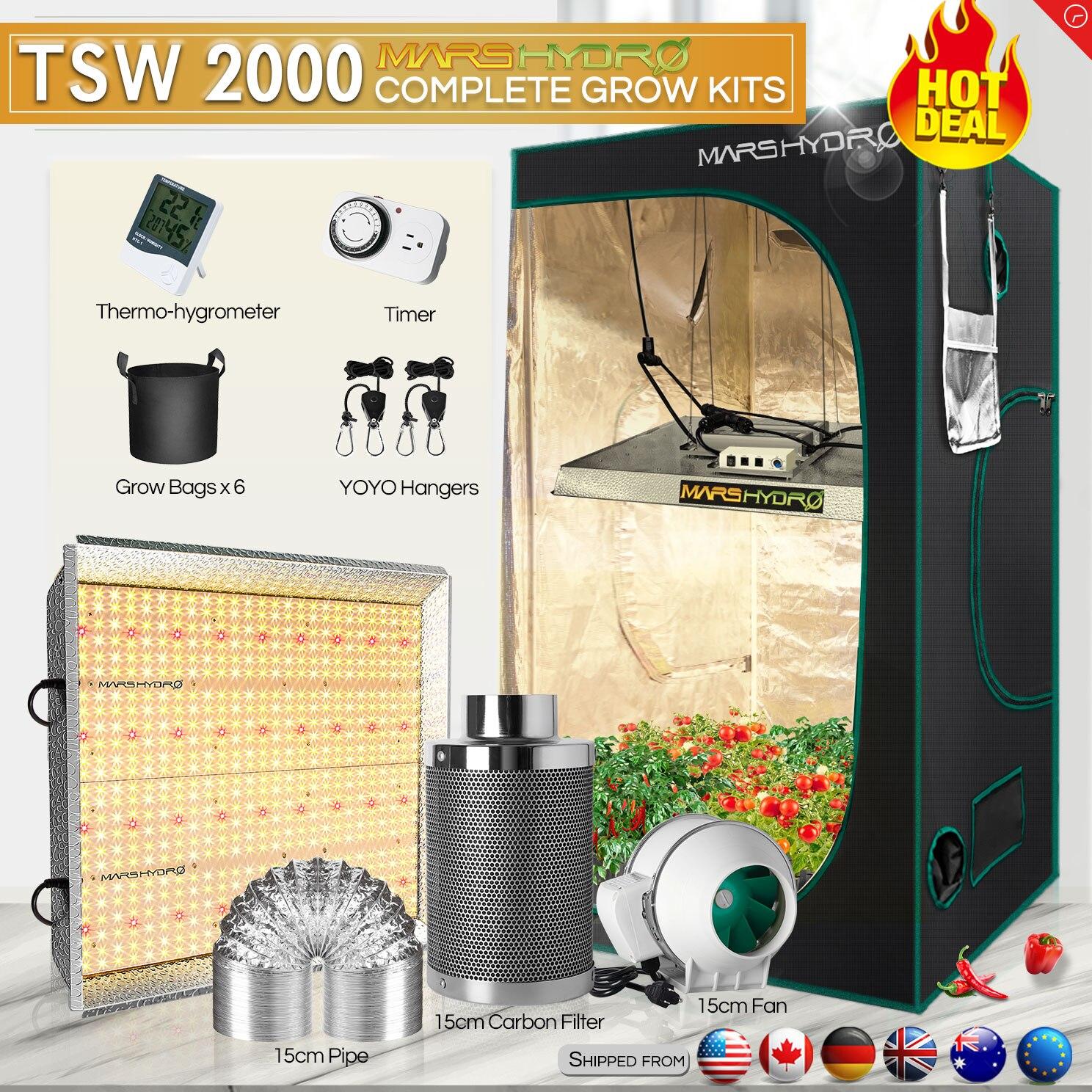New! Mars Hydro TSW 2000W Grow Kits LED Light Sunlike Full Spectrum for Veg and Bloom Hydroponics