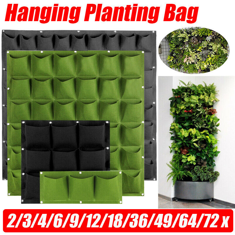 4/7/9/18/25/36/49/72 Pockets Garden Wall Hanging Planting Bags Green Plant Grow Planter Vertical vegetable Garden Supplies Bags