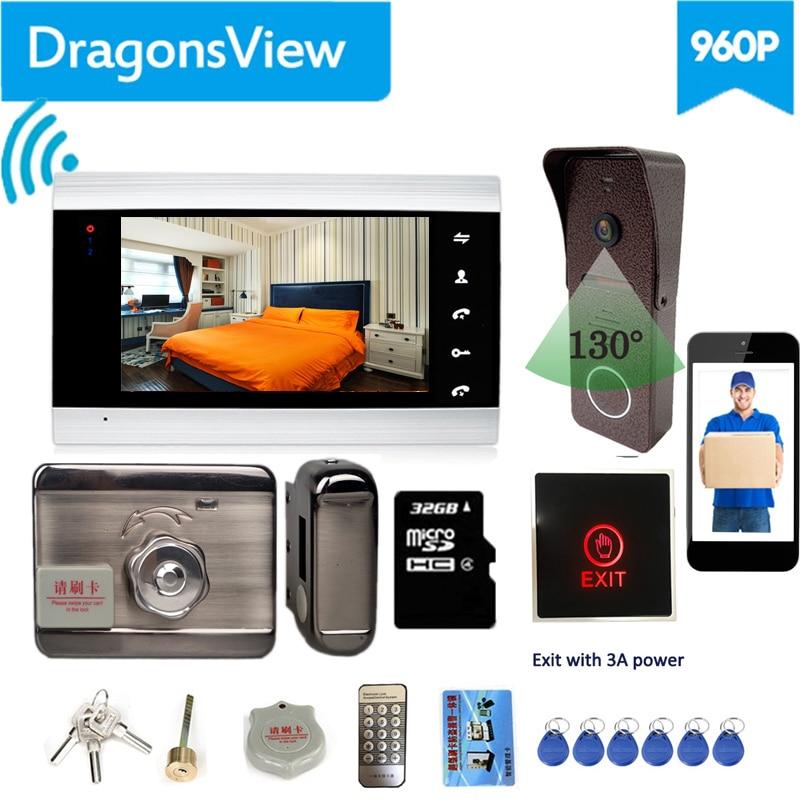 Dragonsview  7 Inch Wifi Video Intercom With Lock Wirelesss Video Door Phone Intercom System  Unlock Doorbell with Camera Record