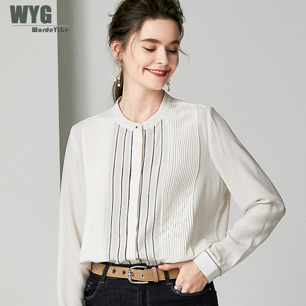Blusas de seda gruesas de moda europea camisas 2019 Autum nuevas capas plisadas de manga larga sólido negro blanco blusas de diseñador Tops