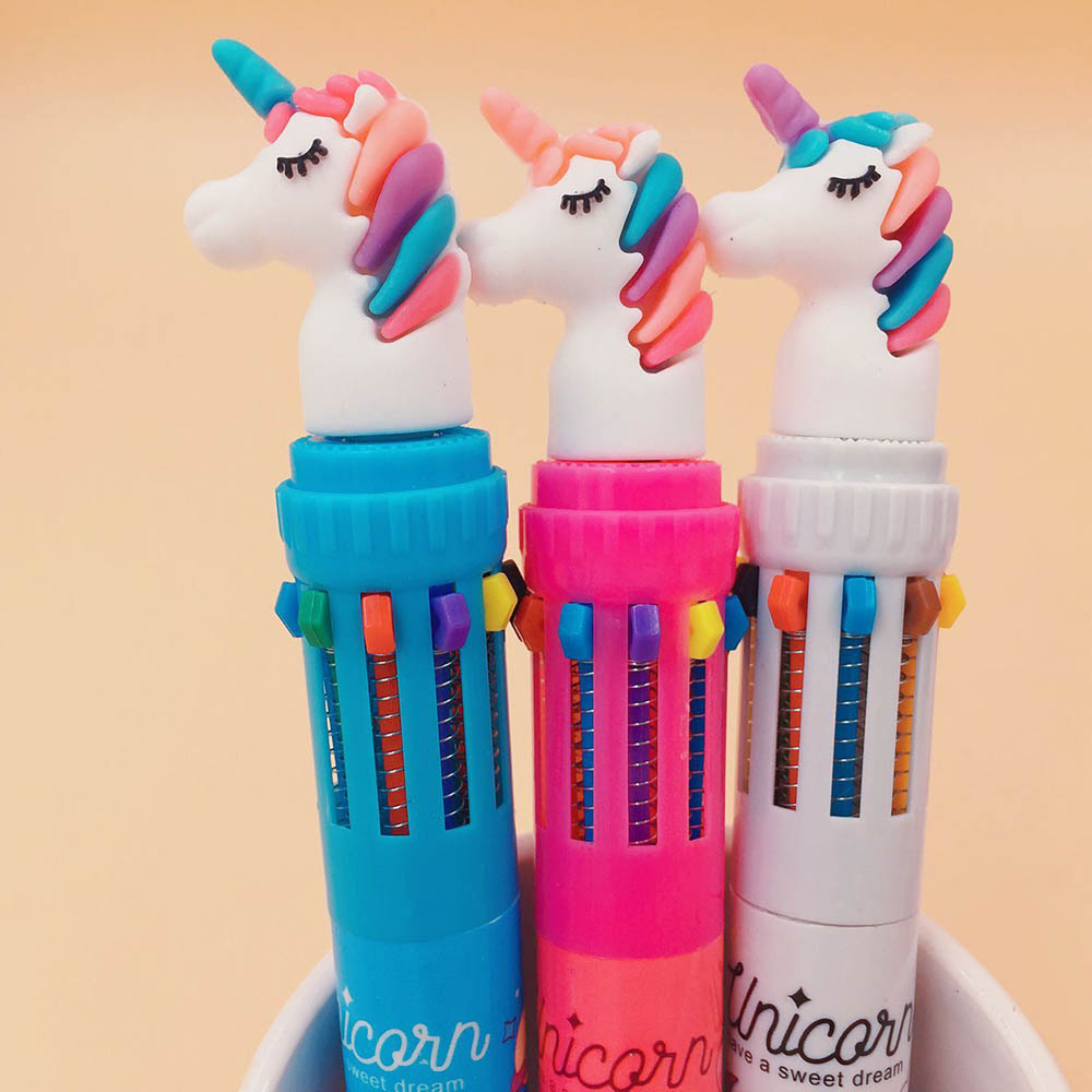 10 Colors Unicorn Ballpoint Pen Multifunction Colorful Ball point pens Writing Cute Office School Stationery 10 colors unicorn pens black ballpoint pen for school office supply cute kawaii gel pen gift stationery papelaria