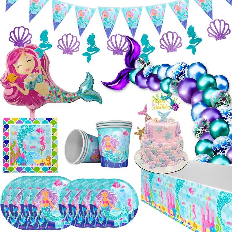 Cyuan Under The Sea Mermaid Party Decor Mermaid Tail Disposable Tableware Mermaid Birthday Party Supplies First Birthday Decor