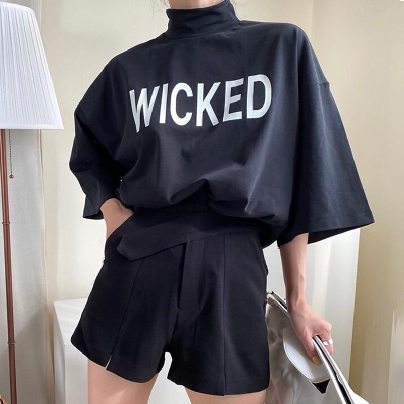 Two Piece Set Women Korean Chic Minority Versatile High Collar Letter Printing Loose Long Sleeve T-s