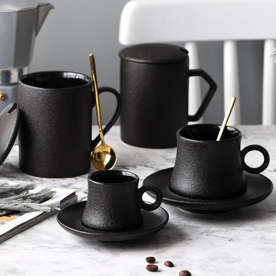 Copo e Pires Copos de Chá com Pires Decoração para Casa Preto Vintage Porcelana Cerâmica Escritório Japonês Taza Café Ceramica Oo50cs