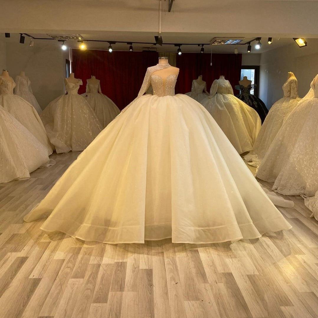 فستان زفاف جديد في كتف واحد ، ثوب كرة مزين بالترتر ، مطرز ، أورجانزا ، منتفخ للغاية ، للحفلات