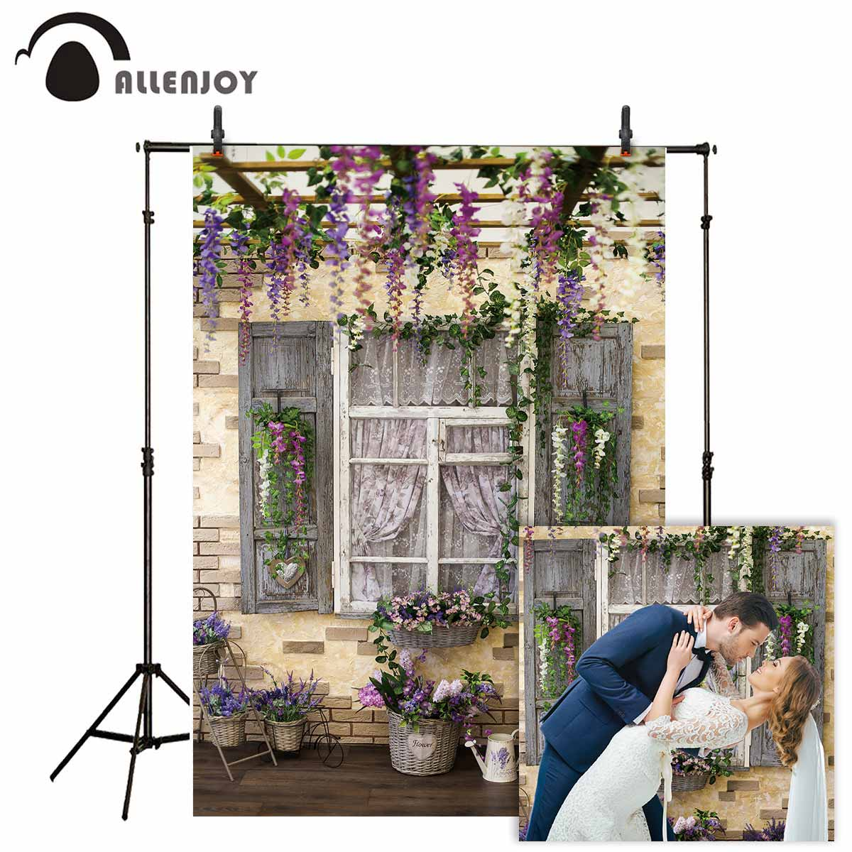 Allenjoy Backgrounds For Photography Studio Interior Window Curtain Wedding Backdrops Professional Photography Display Photocall