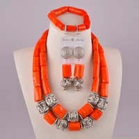 fashionable orange nigerian coral beads necklace jewelry set african wedding coral set c21 37 04