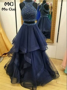 Dark Blue Puffy Evening Party Dresses Two Pieces Gown Prom Gown with Crystals Beaded Gowns For Teens Count Train Evening Dresses