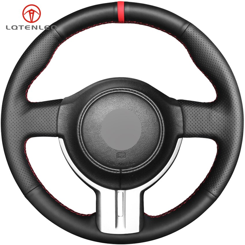 Lqtenleo preto capa de volante de couro genuíno para toyota 86 ft-86 2012-2016 subaru brz 2012-2016 scion frs FR-S 2012-2016